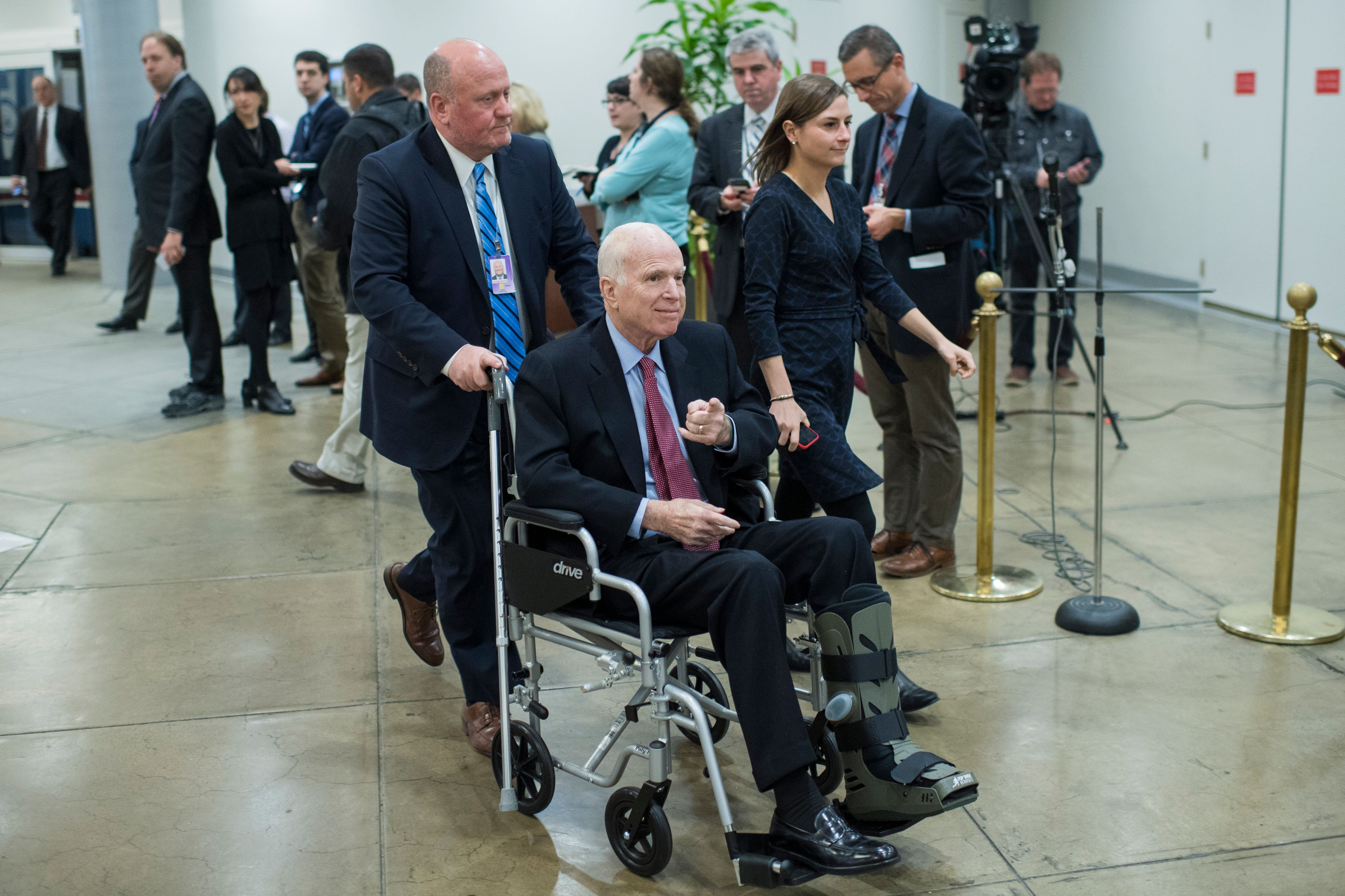 UNITED STATES - DECEMBER 06: Sen. John McCain, R-Ariz., is seen in the senate subway before a vote in the Capitol on December 6, 2017. (Photo By Tom Williams/CQ Roll Call)