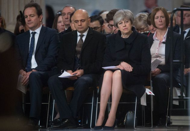 Prime Minister Theresa May attends the Grenfell Tower National Memorial Service at St Paul's Cathedral...
