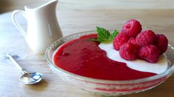 Buttermilk Puddings With Raspberries