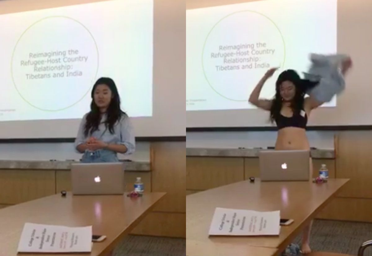 """presenting thesis The most remarkable thing about the title of this column [""""cornell student  presents thesis in her underwear""""] is that not one reader will think."""
