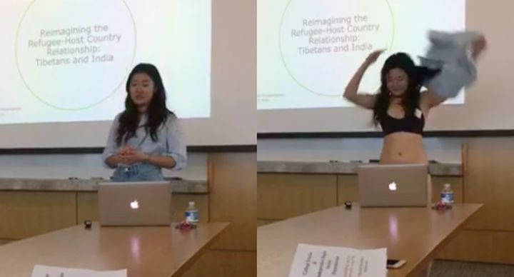 Cornell student Letitia Chai strips while giving her senior thesis presentation on May 5.