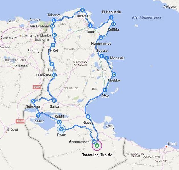 L'itinéraire suivi par Amine Orfi lors de son