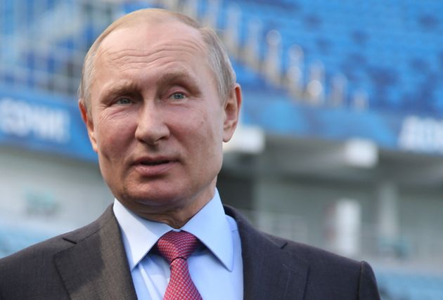Russian President Vladimir Putin gives a speech while visiting the Fisht Olympic Stadium in Sochi, Russia....