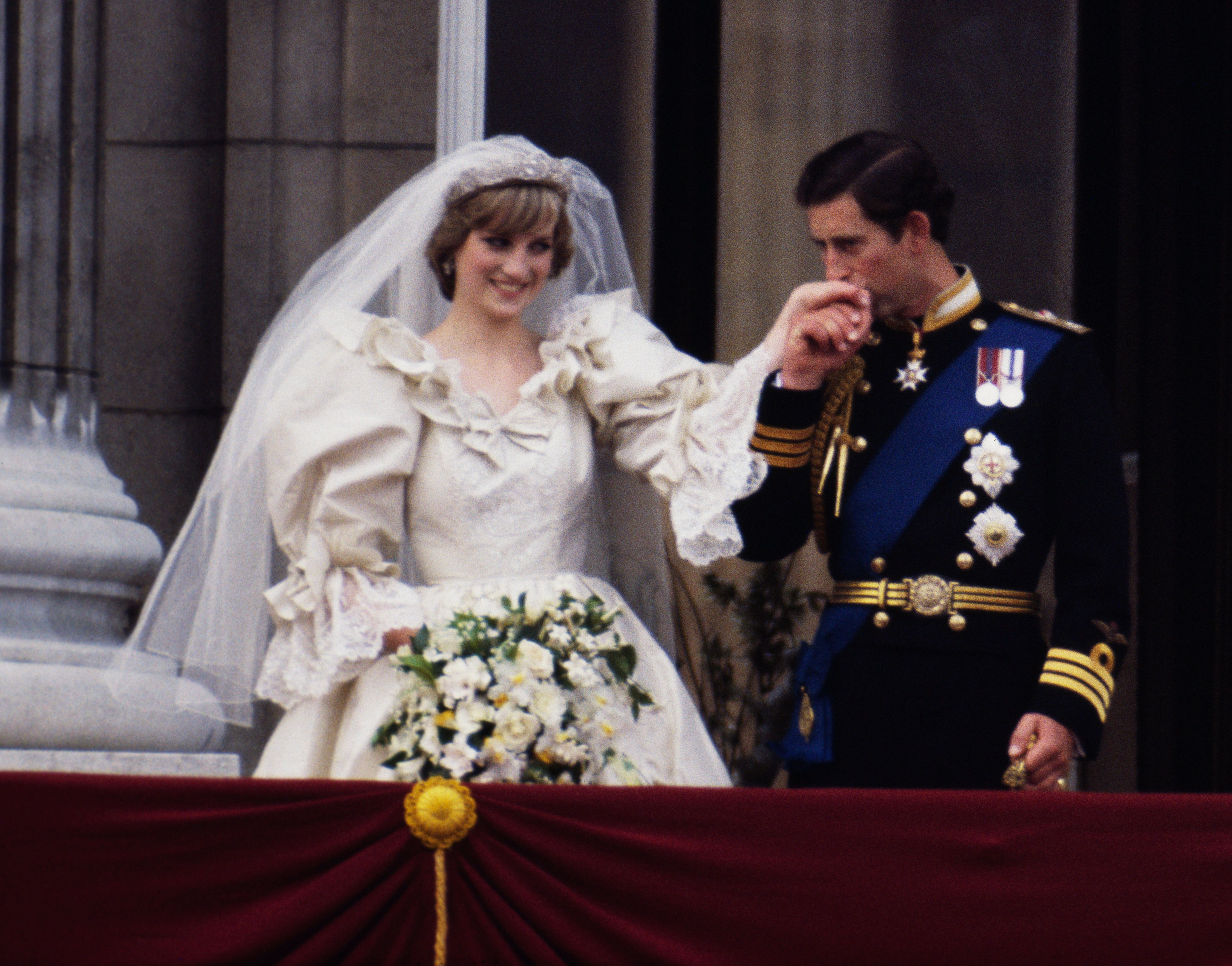 Charles donned a military uniform on his wedding day in July 1981.