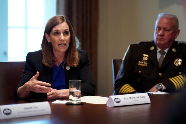 U.S. Representative Martha McSally (R-AZ) speaks during a meeting between President Donald Trump, members of Congress and U.S. law enforcement about crime and immigration issues, specifically the MS-13 gang, at the White House in Washington, U.S. February 6, 2018.  REUTERS/Jonathan Ernst