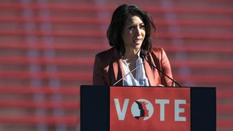 LAS VEGAS, NV - JANUARY 21:  State Rep. Paulette Jordan (D-ID) speaks during the Women's March 'Power to the Polls' voter registration tour launch at Sam Boyd Stadium on January 21, 2018, in Las Vegas, Nevada. Demonstrators across the nation gathered over the weekend, one year after the historic Women's March on Washington, D.C., to protest President Donald Trump's administration and to raise awareness for women's issues.  (Photo by Sam Morris/Getty Images)