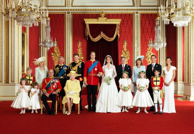 Will and Kate pose for an official portrait with their families and the wedding party on April 29,