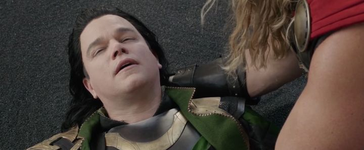 "Matt Damon as an actor playing Loki in ""Thor Ragnarok."""