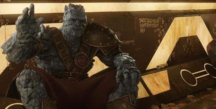 "Taika Waititi as Korg in ""Thor Ragnarok."""