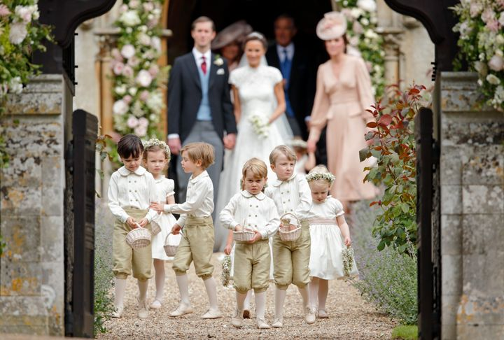 Prince George reporting for pageboy duty at his aunt Pippa Middleton's wedding in 2017.