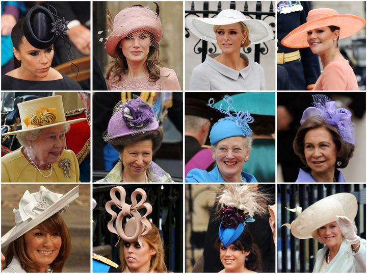 Some of the manyfancy hats and fascinators worn at the royal wedding in 2011.