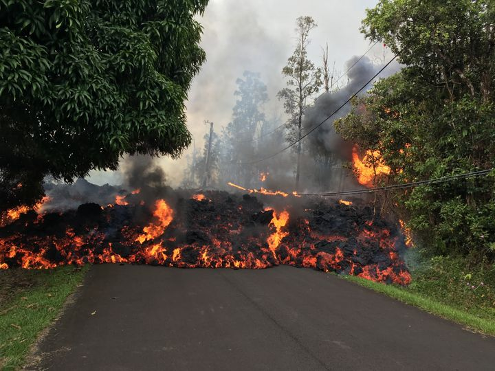 Lava flowing from fissures have claimed roads and homes on Hawaii's Big Island.