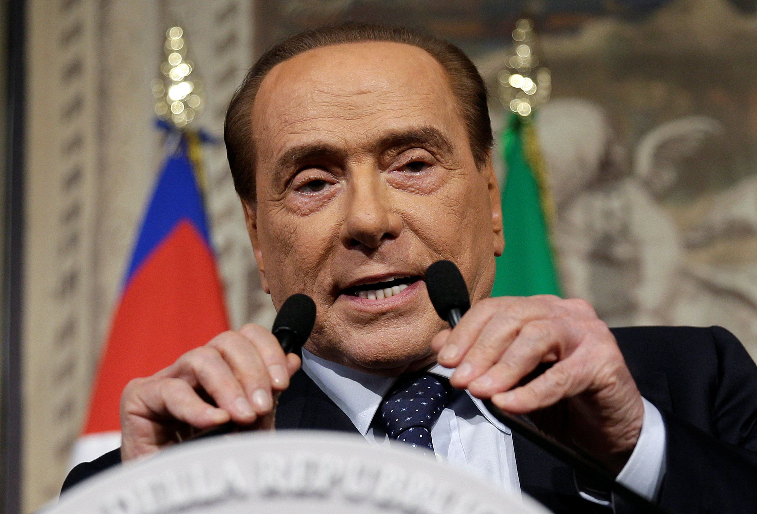 Forza Italia leader Silvio Berlusconi speaks following a talk with Italian President Sergio Mattarella at the Quirinale palace in Rome, Italy, April 12, 2018.  REUTERS/Max Rossi