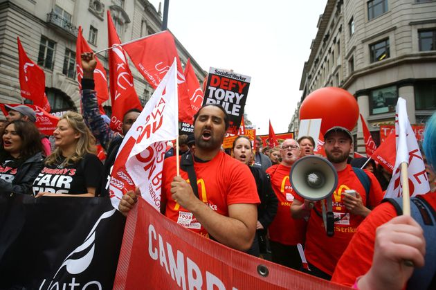 Demonstrators during a TUC rally in central London, as part of its 'great jobs'