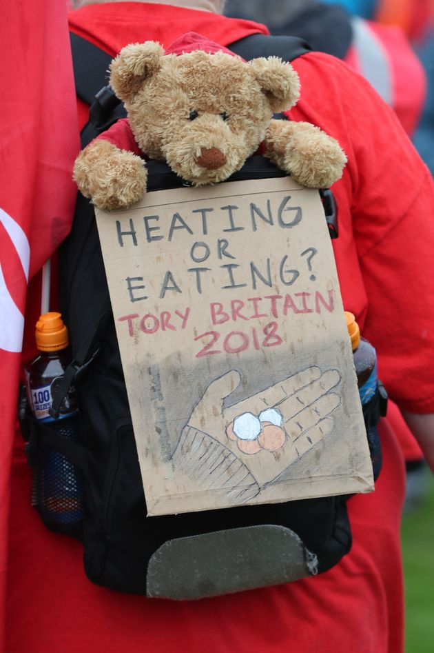 A sign on a demonstrator's bag during a TUC rally in central London, as part of its 'great jobs'