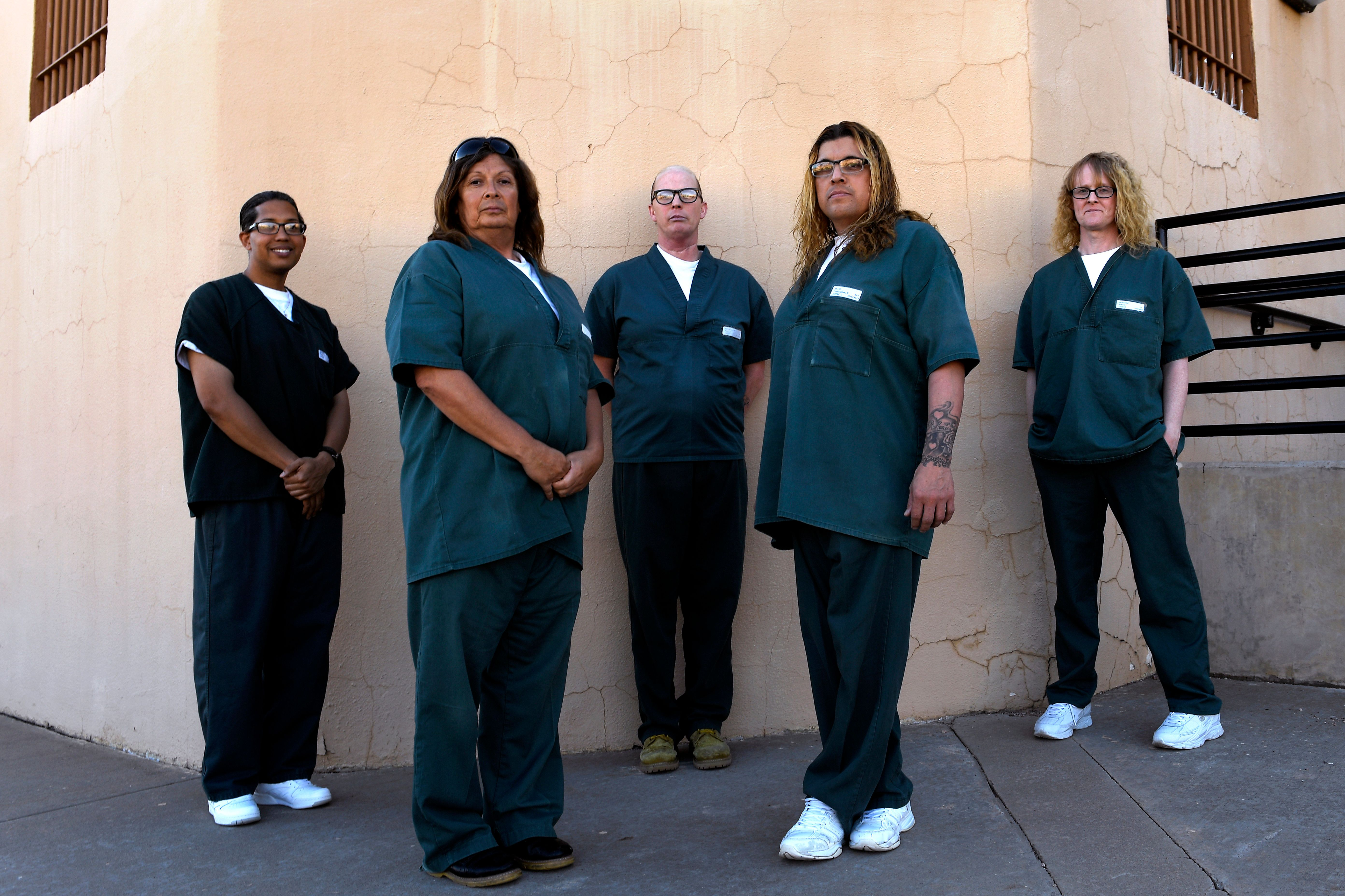 CANON CITY, CO - APRIL 4: Transgender inmate's (from left) 'Taliyah' Dario Murphy 34, 'Jessica' Fidencio Tuitron 58, 'Paula' Paul Thompson 44, 'Monica' Cuahutemoe Anaya 44 and Acacia Lyndarr 39,at the Colorado Territorial Correctional Facility in Cañon City. May 4, 2018 Cañon City, CO (Photo by Joe Amon/The Denver Post via Getty Images)
