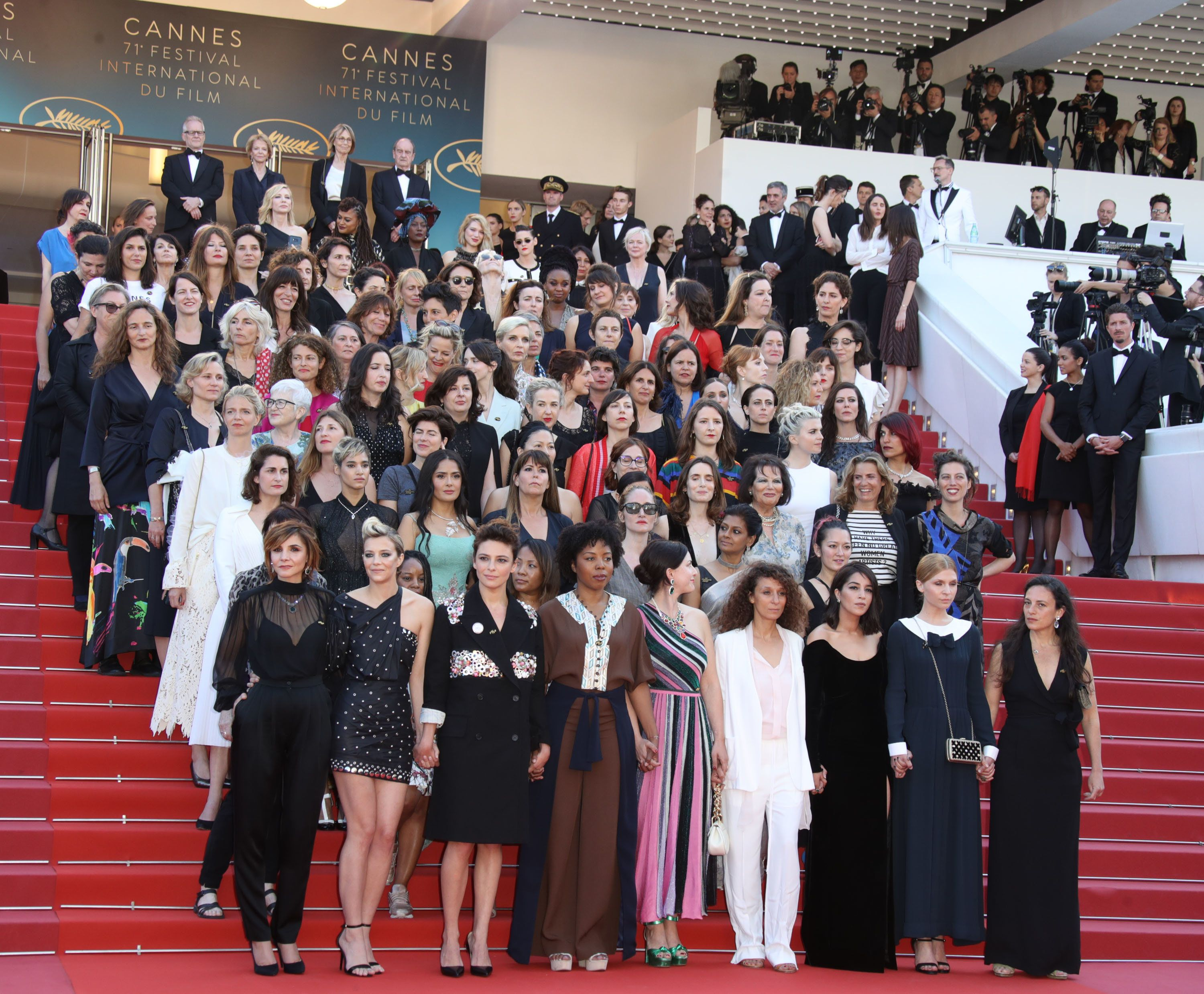 The 82 women, led by Cate Blanchett, stand in protest on the steps of the Palais des Festivals at Cannes on Sa