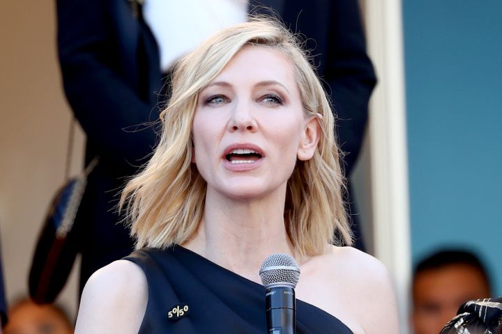 Cate Blanchett delivers her remarks Saturday.