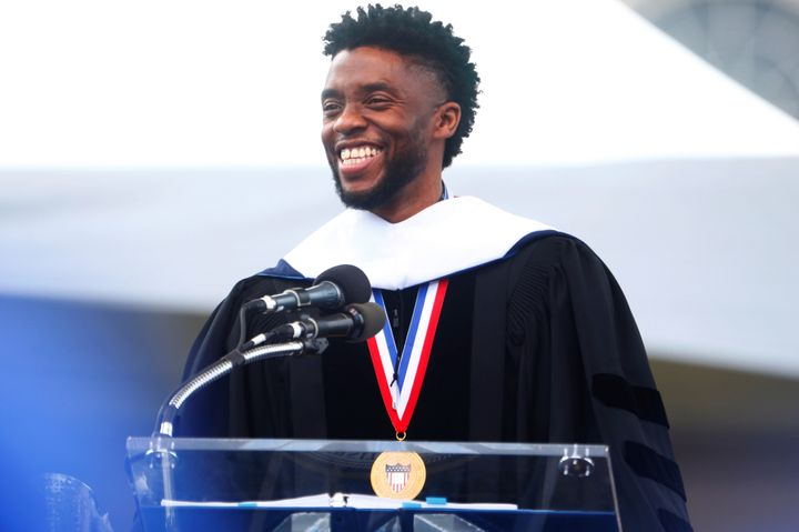 Chadwick Boseman addresses graduates at Howard University on Saturday.