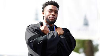 Actor Chadwick Boseman addresses the 150th commencement ceremony at Howard University in Washington, U.S. May 12, 2018. REUTERS/Eric Thayer