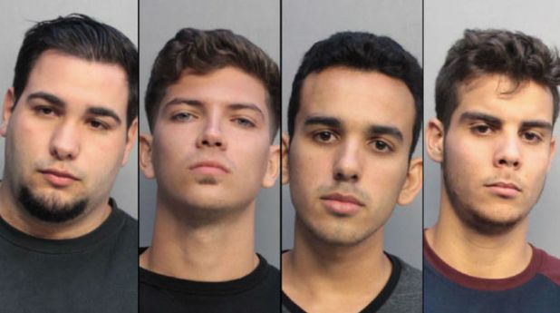 The four suspects in the alleged hate crime are, from left, Pablo Reinaldo Romo-Figueroa, Juan Carlos Lopez, Adonis David Diaz and Luis M. Alonso Piovet.