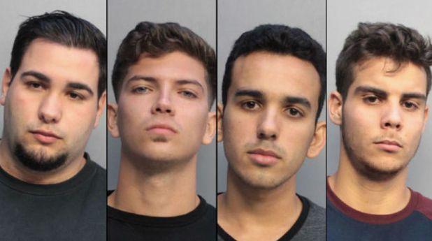 The four suspects inthe alleged hate crime are, from left, Pablo Reinaldo Romo-Figueroa, Juan Carlos Lopez, Adonis Davi