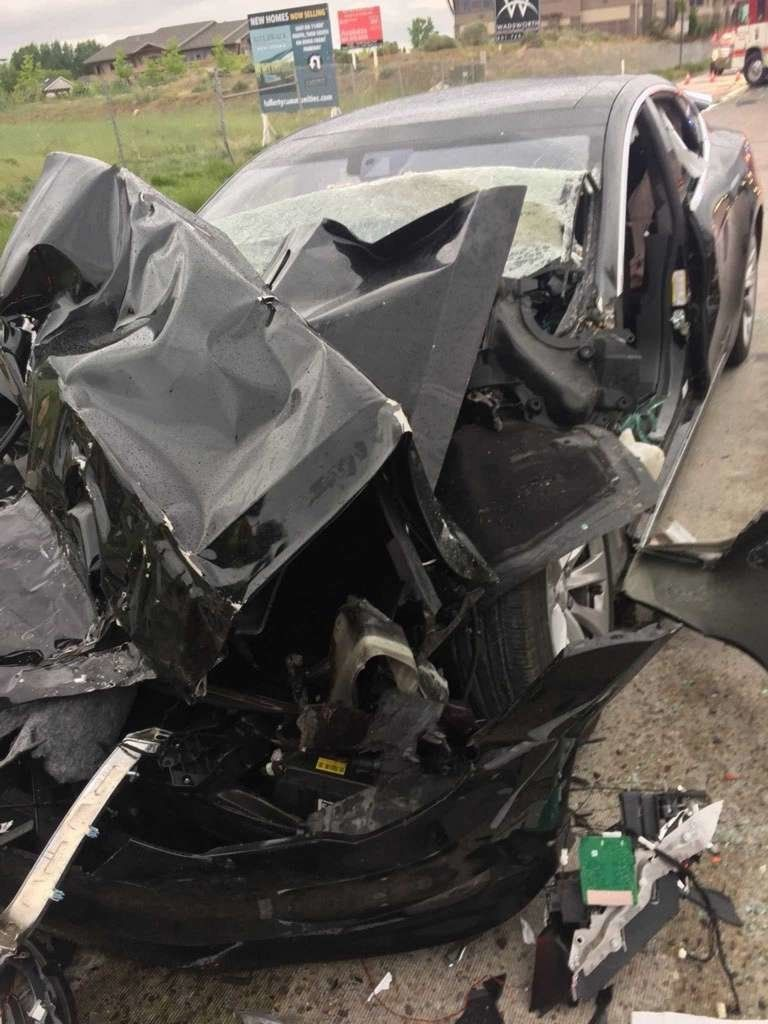 Smashed Tesla Model S after Utah crash.