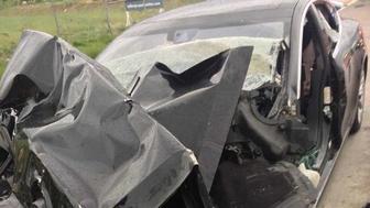 Smashed Tesla Model S after Utah crash