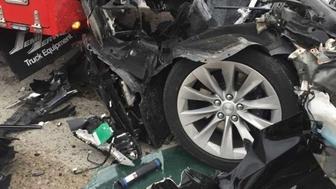 Crushed Tesla Model S in Utah