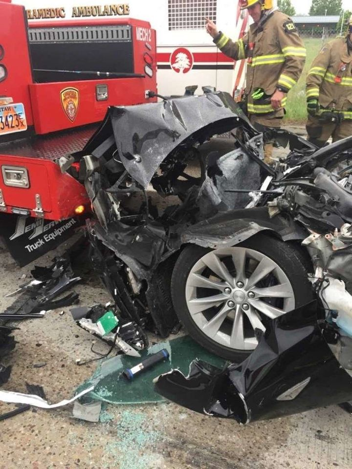 Crushed Tesla Model S after thecrash in South Jordan, Utah.