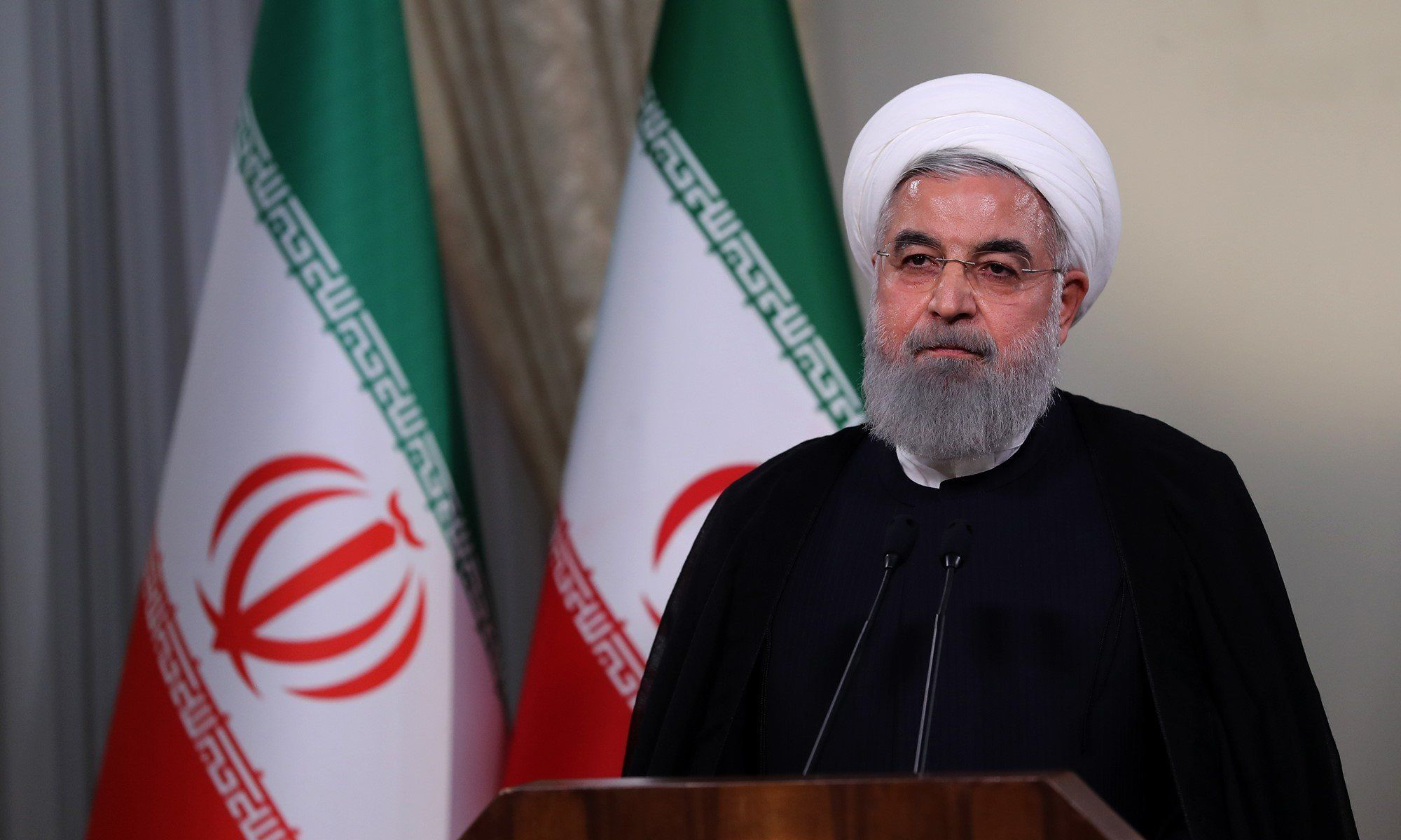 Iranian President Hassan Rouhani holds a press conference on Trump's withdrawal decision from Iran nuclear deal in Tehran, Ir