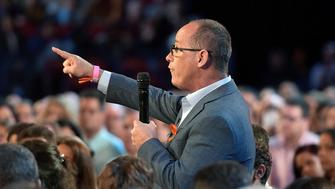 Fred Guttenberg asks Marco Rubio a question during a CNN town hall meeting, at the BB&T Center, in Sunrise, Florida, U.S. February 21, 2018.  Guttenberg lost his daughter Jamie in the Douglas High School shooting.  REUTERS/Michael Laughlin/Pool