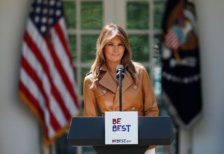 "First lady Melania Trump delivers remarks at the launch of her ""Be Best"" initiatives at the White House last Monday."
