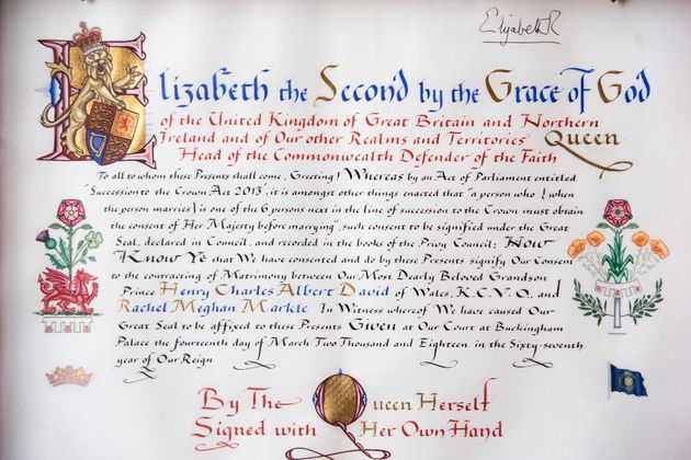 Detail of the 'Instrument of Consent', which is the Queen's historic formal consent to Prince Harry's...
