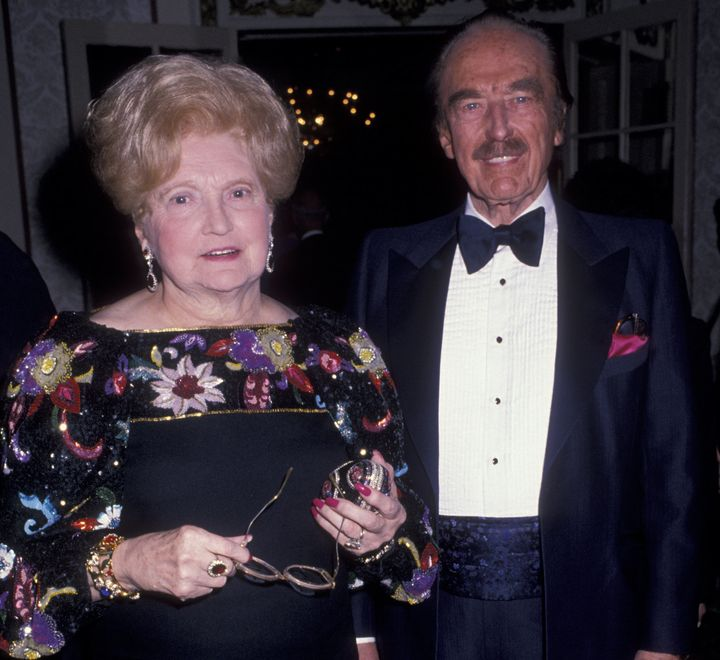 Donald Trump's parents, Mary MacLeod Trump and Fred Trump, at an awards dinner in New York in 1999.