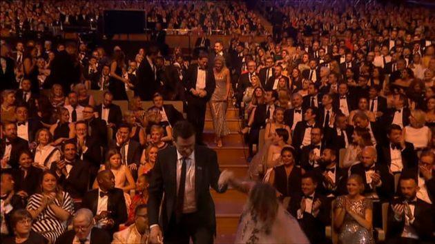 Caroline Flack did a Jennifer Lawrence at the TV