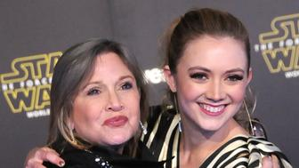 HOLLYWOOD, CA - DECEMBER 14:  (L-R) Actress Carrie Fisher and daughter actress Billie Lourd attend the Premiere of Walt Disney Pictures and Lucasfilm's 'Star Wars: The Force Awakens' on December 14, 2015 in Hollywood, California.  (Photo by Barry King/WireImage)