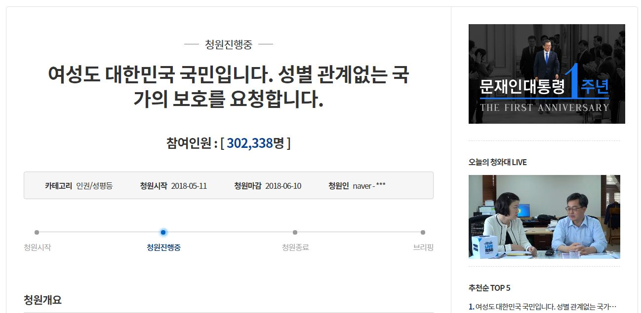 '성별 차별 없는 불법촬영 수사' 요구하는 국민청원이 20만을 넘겼다