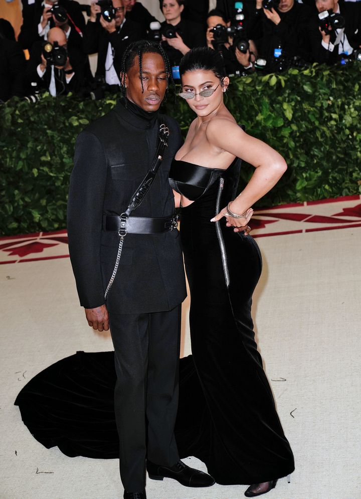 Kylie Jenner and Travis Scott attends Heavenly Bodies: Fashion & The Catholic Imagination Costume Institute Gala at Metro