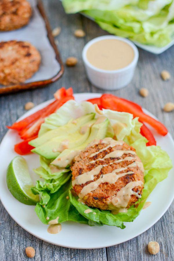 "<strong>Get the <a href=""https://www.theleangreenbean.com/refreshed-thai-peanut-salmon-burgers/"" target=""_blank"">Thai Peanut"