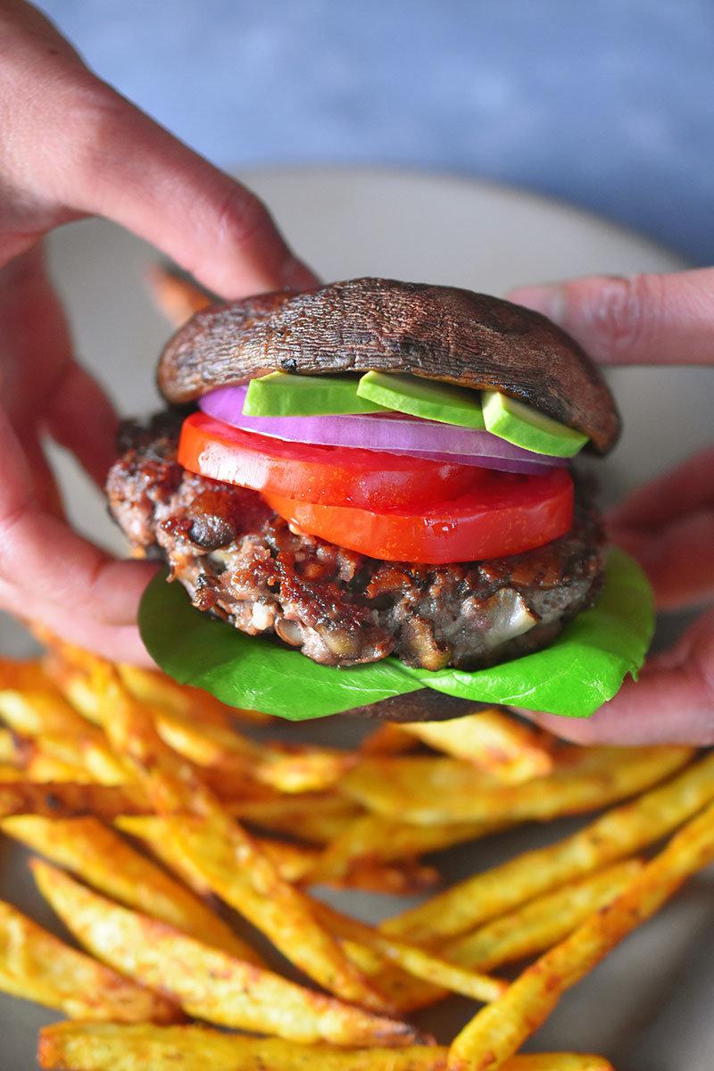 That's a portobello bun on that gorgeous burger.