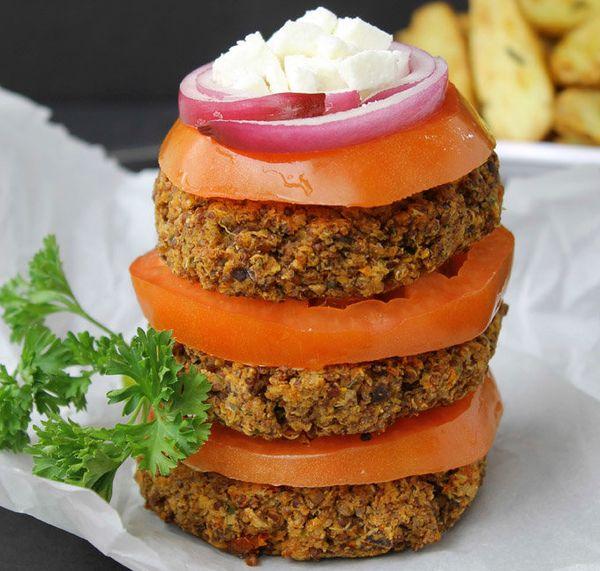 "<strong>Get the <a href=""https://www.thehealthymaven.com/2014/03/greek-quinoa-burgers.html"" target=""_blank"">Greek Quinoa Burg"