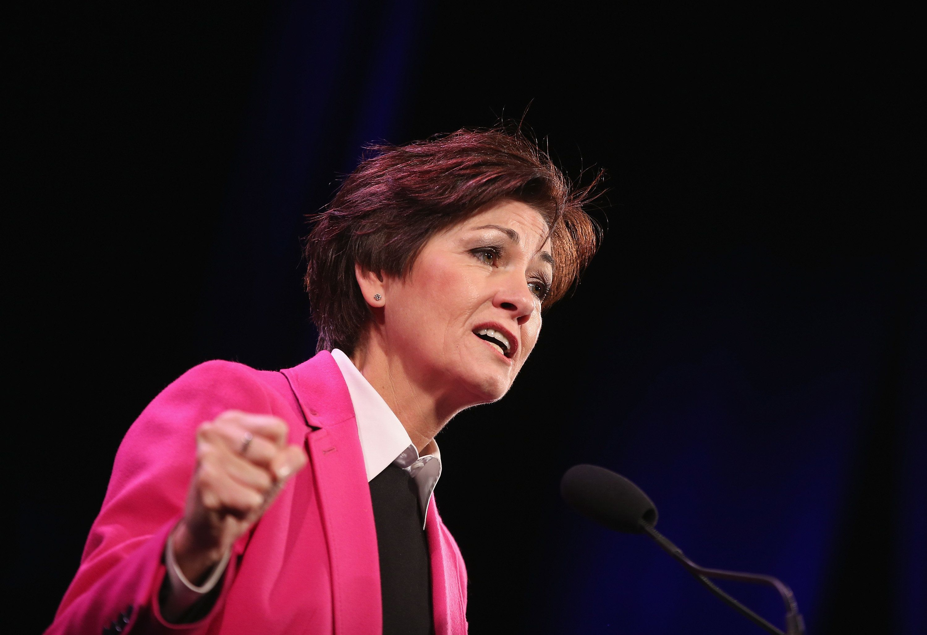 DES MOINES, IA - JANUARY 24:  Iowa Lt. Gov. Kim Reynolds speaks to guests  at the Iowa Freedom Summit on January 24, 2015 in Des Moines, Iowa. The summit is hosting a group of potential 2016 Republican presidential candidates to discuss core conservative principles ahead of the January 2016 Iowa Caucuses.  (Photo by Scott Olson/Getty Images)