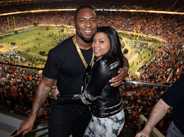 Kelvin Hayden and Taraji P. Henson attend Super Bowl 50 in February 2016.