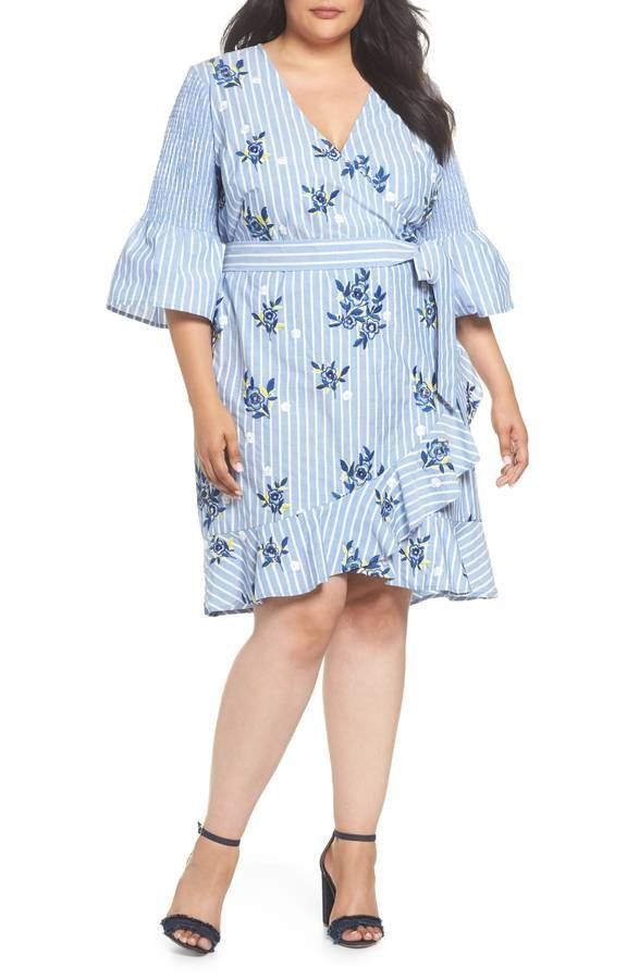 "<strong>Sizes</strong>: 14W to 24W<br>Get it <a href=""https://shop.nordstrom.com/s/eci-embroidered-stripe-wrap-dress-plus-siz"