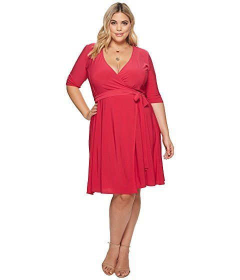 "<strong>Sizes</strong>: 0X to 5X<br>Get it <a href=""https://www.zappos.com/p/kiyonna-essential-wrap-dress-rose/product/828669"