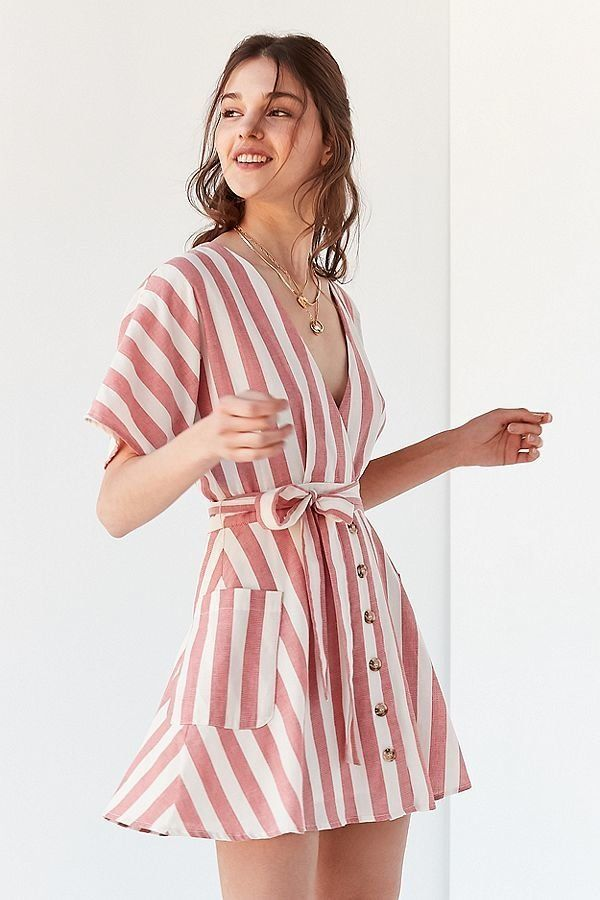 "<strong>Sizes</strong>: XS to L<br>Get it <a href=""https://www.urbanoutfitters.com/shop/moon-river-striped-wrap-dress"" target"