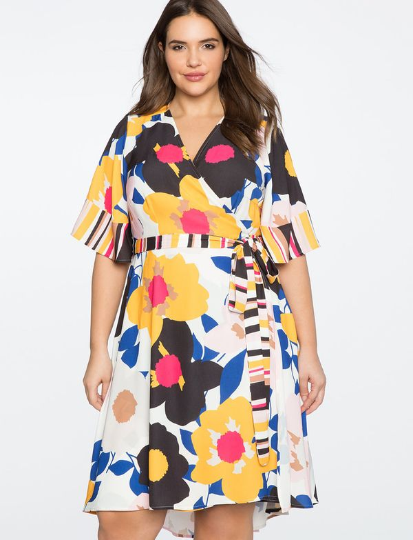 "<strong>Sizes</strong>: 14 to 28<br>Get it <a href=""http://www.eloquii.com/blocked-sleeve-wrap-dress/1246327.html?q=wrap%20dr"