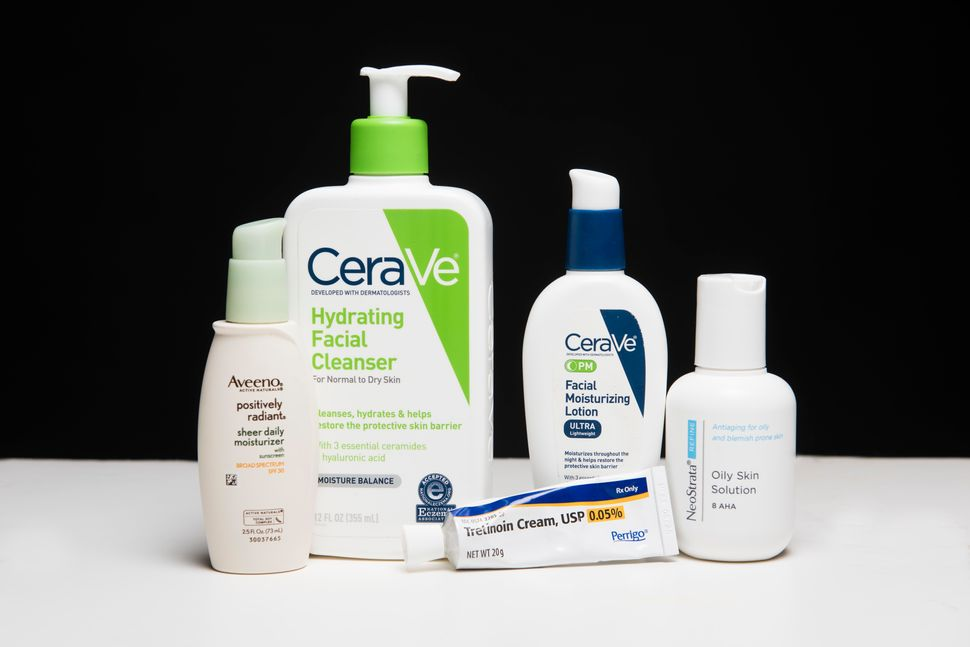 "Ashley's routine (left to right) includes: <a href=""https://www.target.com/p/aveeno-positively-radiant-sheer-daily-moisturizi"