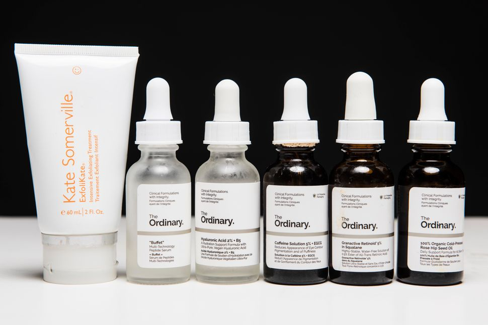 "Kate described her skin type as sensitive. Her go-to products (from left to right) include: <a href=""https://www.sephora.com/"